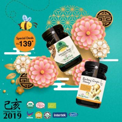 1 bottle Borneo Rainforest Raw Active Honey & 1 bottle Bentong Ginger Honey