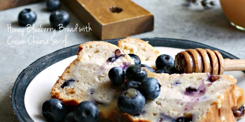 Honey Blueberry Bread with Cream Cheese Swirl