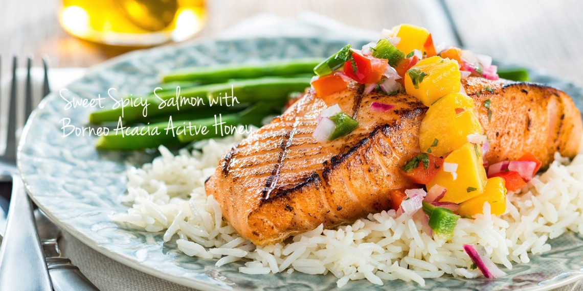 Sweet Spicy Salmon with Honeyed Mango Salsa